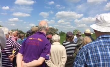 People enjoying a local history walk