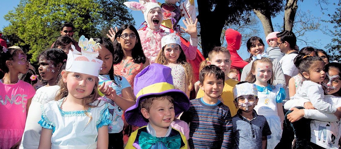 children dressed up at mad hatters event in valentines mansion