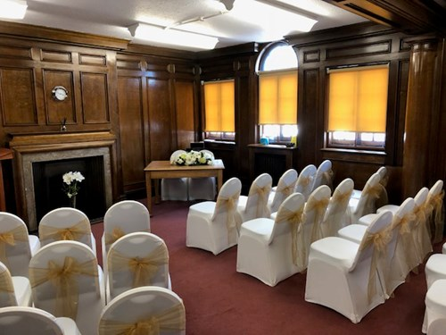The Library Suite set up for a ceremony