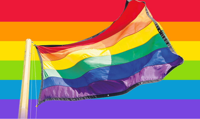 Image of LGBT+ flag with striped background