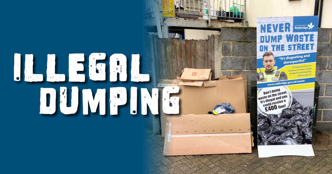 graphic of illegal dumping with illegal dumping wording next to it