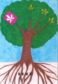 Redbridge Educational Wellbeing Team logo with tree detailing branches and roots